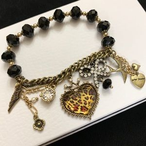 Betsy Johnson Cheetah Heart Charm Bracelet Crystal